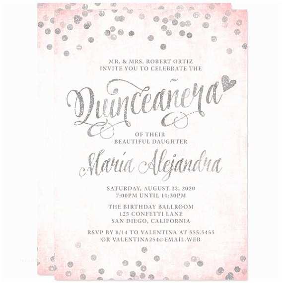 Quinceanera Invitation Wording Quinceañera Invitations Blush Pink & Silver Printed