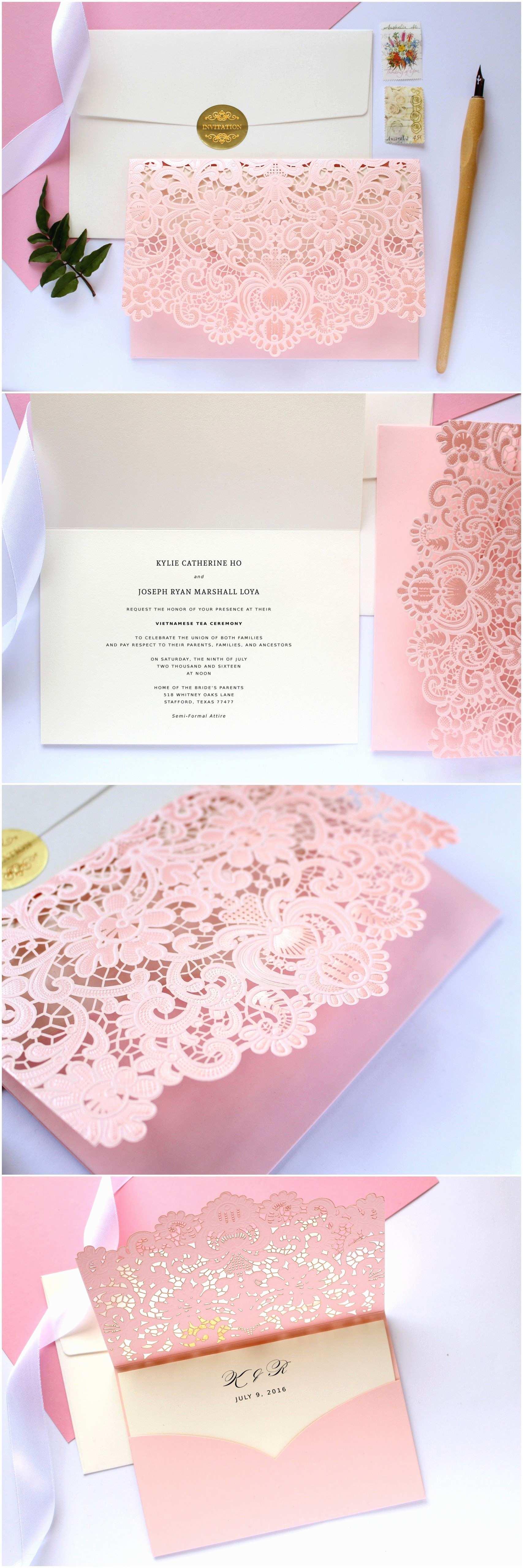 Quinceanera Invitations Blush Pink Laser Cut Wedding Invitation How Pretty
