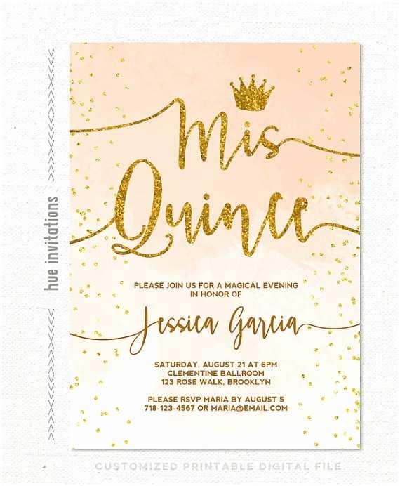 Quinceanera Invitations Ideas Quinceañera Invitation Coral Peach Watercolor Gold