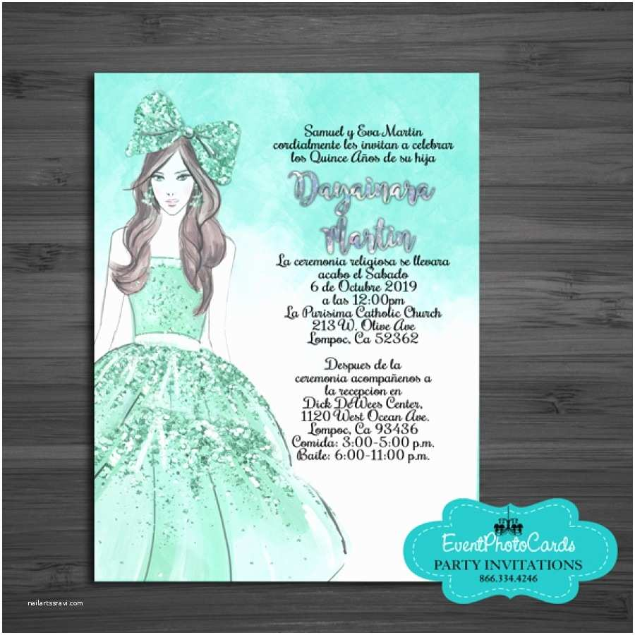 Quinceanera Invitations In Spanish Invitaciones De Quincenera Muneca Mente Verde Xv Anos