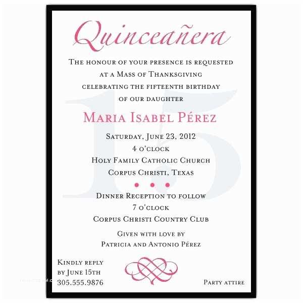 Quinceanera Invitations In Spanish Quinceanera Invitation Wording Template