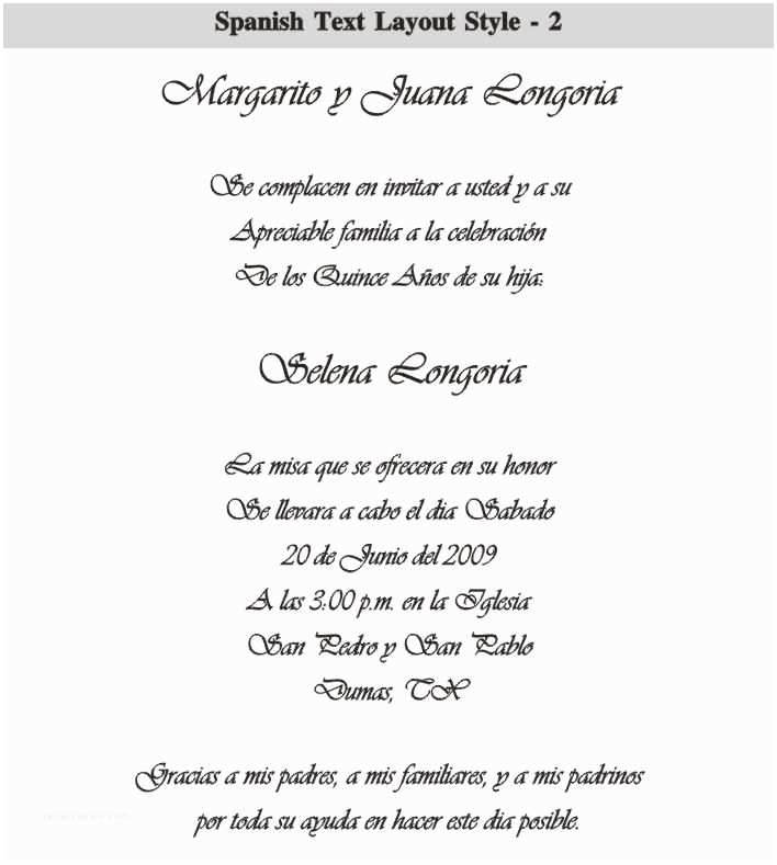 Quinceanera Invitations In Spanish Spanish Quinceanera Invitation Dinner Wording Car