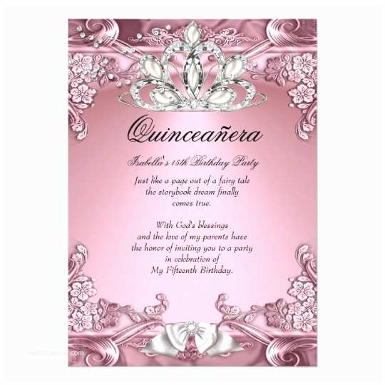 Quinceanera Invitations Quinceanera Pink 15th Birthday Party Card
