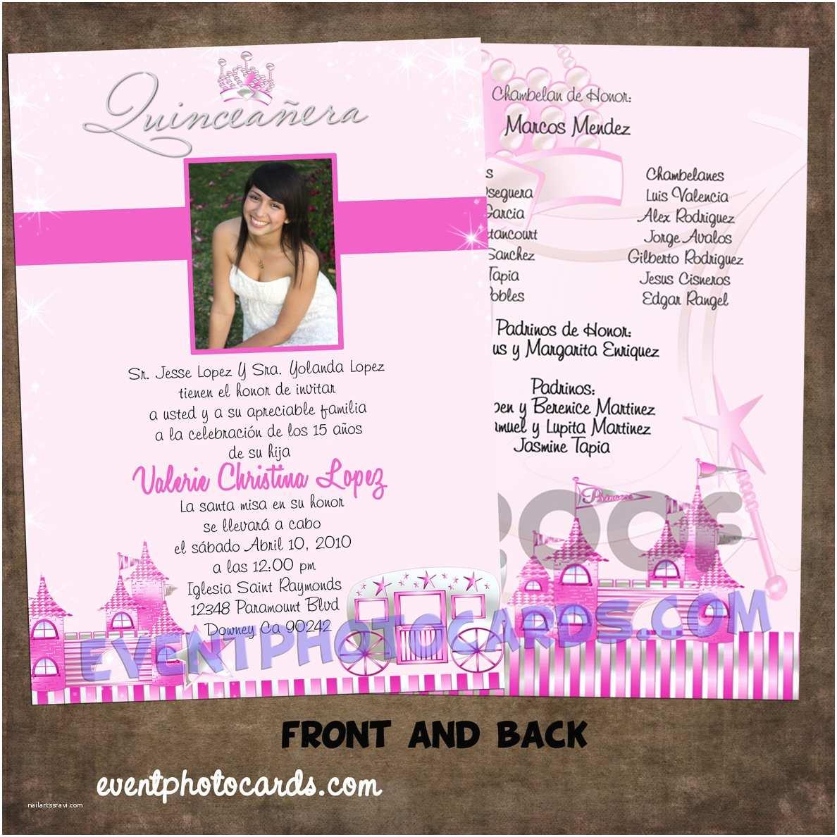 Quinceanera Invitations Templates event Cards