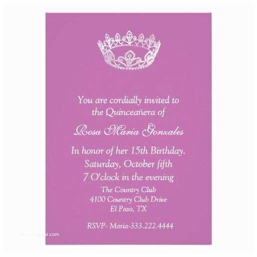Quinceanera Invitations Templates Pink Elegant Crown Quinceañera Invitation