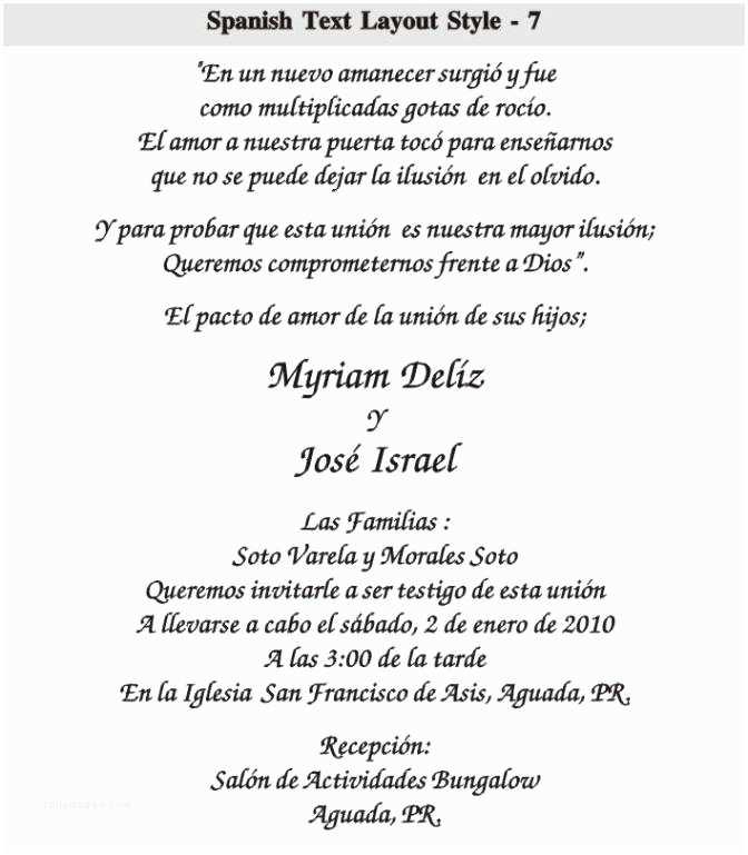 Quinceanera Invitations Wording In Spanish Spanish Wedding Invitation Wording