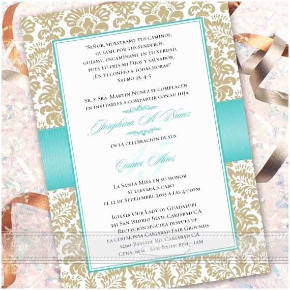 Quinceanera Invitations Wording In Spanish Wedding Invitations Printed Bridal Shower Invitations