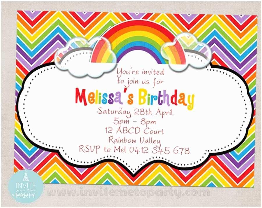 Rainbow Birthday Invitations Invite Me to Party Chevron Over the Rainbow Party Printables