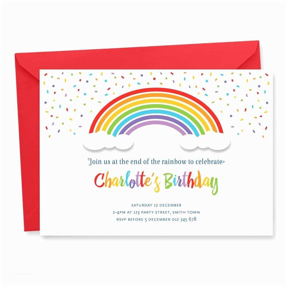 Rainbow Birthday Invitations Rainbow Birthday Invitation Tumbleweed Press
