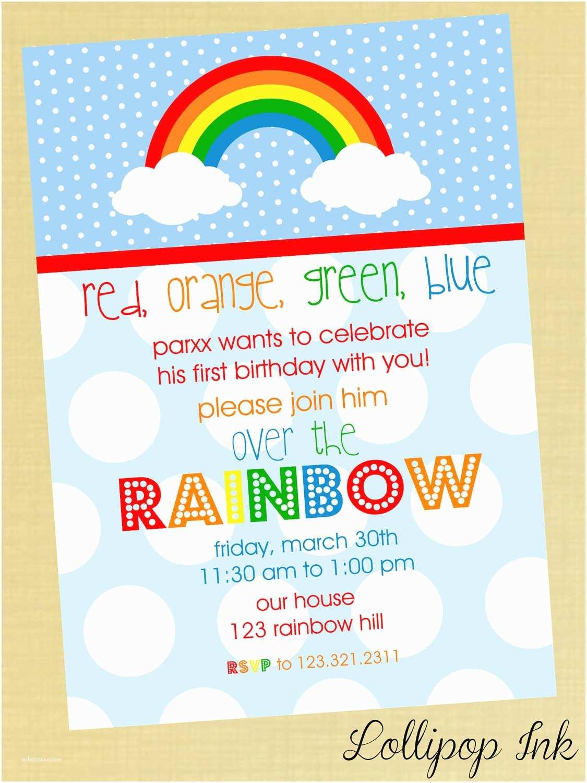 Rainbow Birthday Invitations Rainbow Boy Printable Birthday Invitation Rainbow by