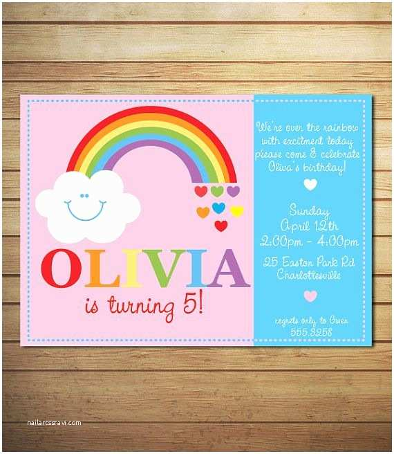 Rainbow Birthday Invitations Invitation For Girls Clouds Printable