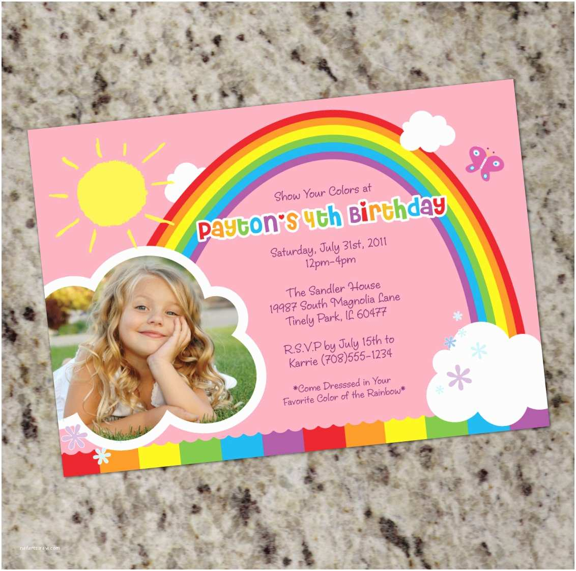 Rainbow Birthday Invitations Rainbow Party Birthday Party Invitations Printable Design