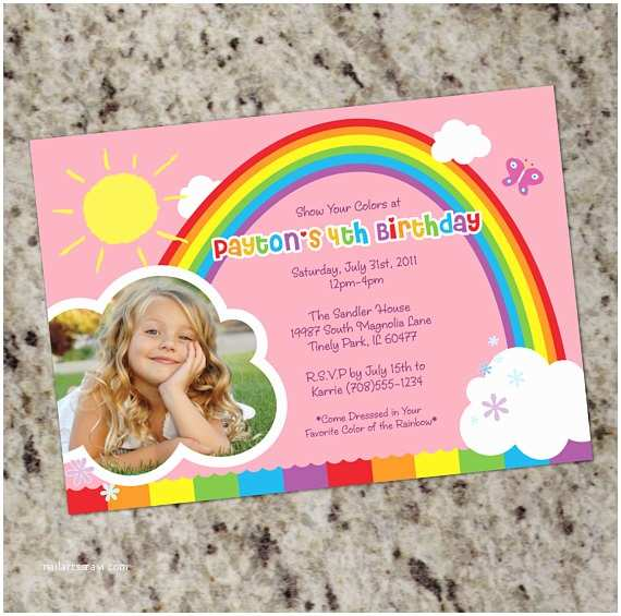 Rainbow Birthday Invitations Rainbow Party Birthday Party Invitations Printable