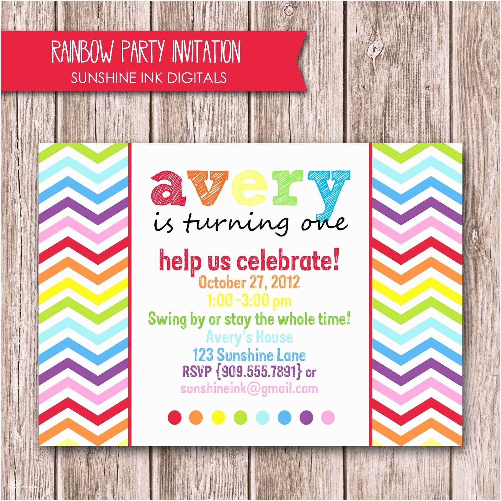 Rainbow Party Invitations Aweddingstoryblog