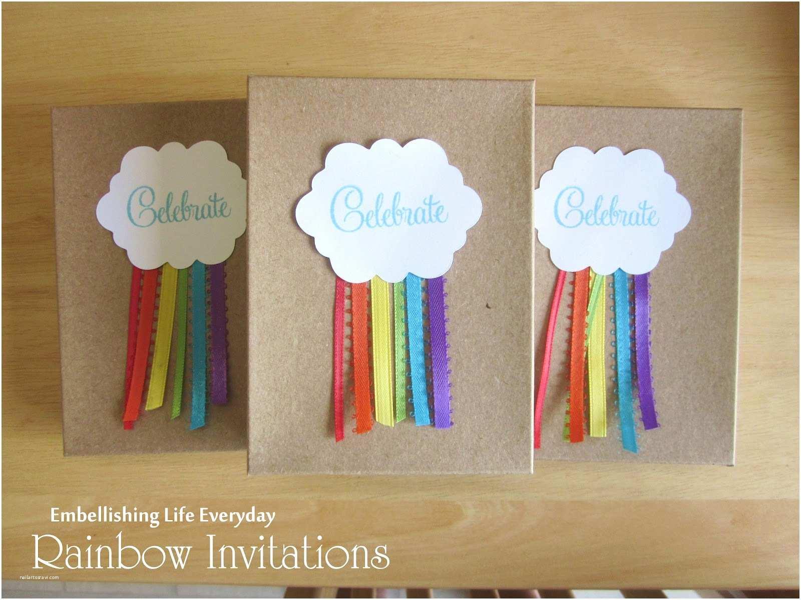 Rainbow Party Invitations Embellishing Life Rainbow Invitation