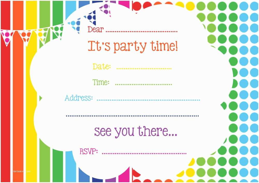 Rainbow Party Invitations Free Rainbow Party Invitation
