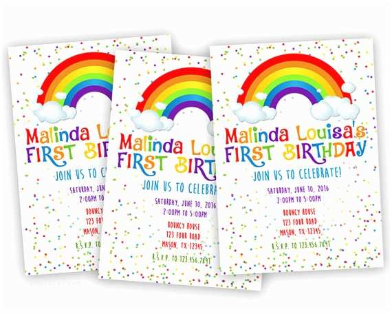 Rainbow Party Invitations Printable Rainbow Birthday Invitation Rainbow Party