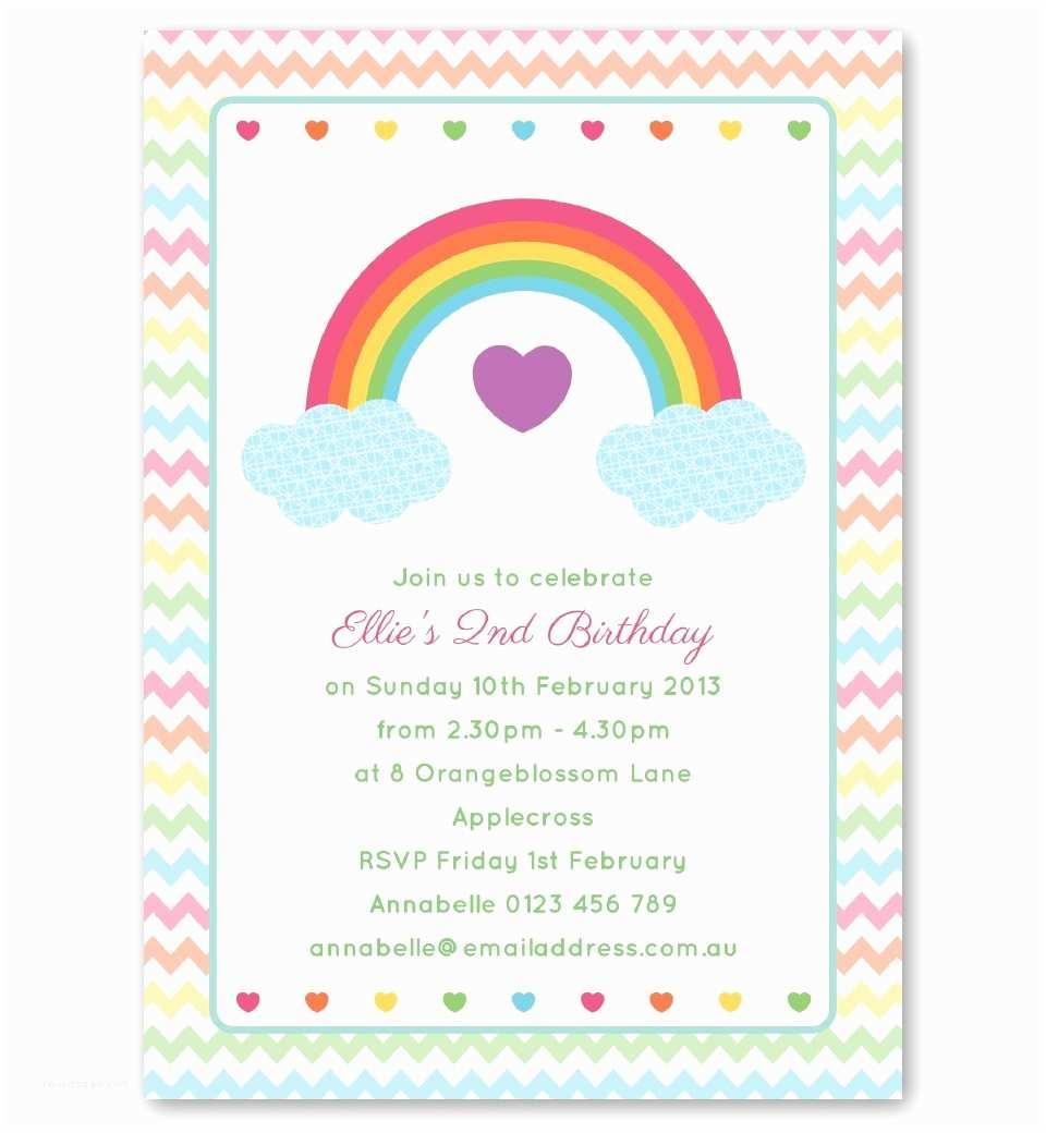 Rainbow Party Invitations Rainbow Birthday Invitation