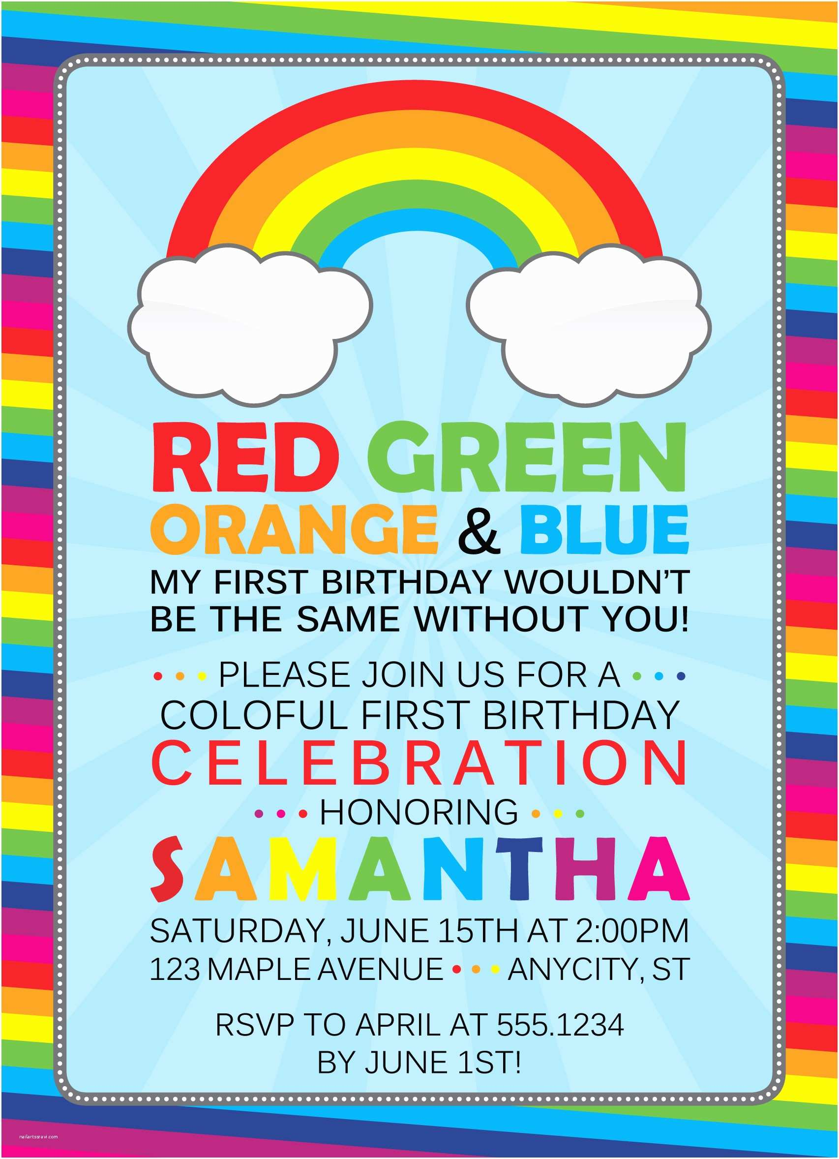 Rainbow Party Invitations Rainbow Birthday Invitation