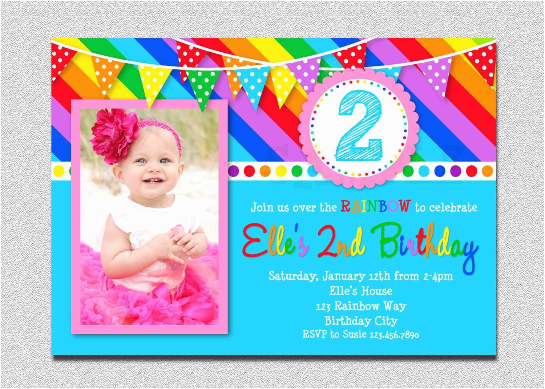 Rainbow Party Invitations Rainbow Birthday Invitation Rainbow Kids Birthday Invite 1st