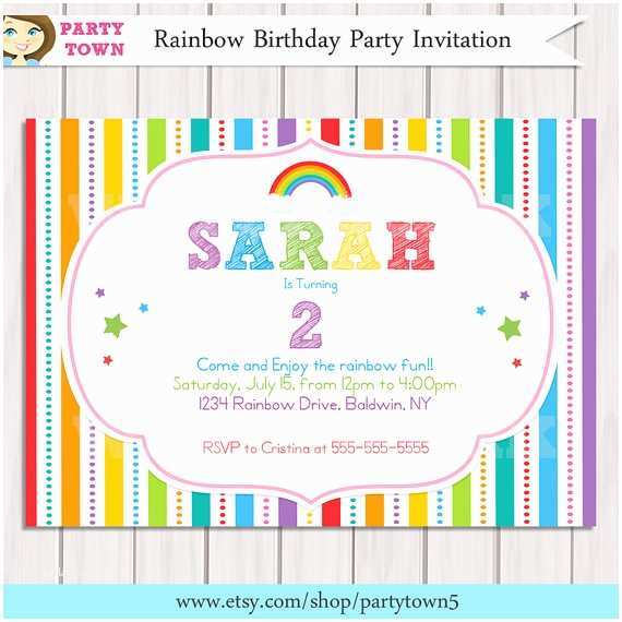 Rainbow Party Invitations Rainbow Invitation Rainbow Birthday Invitation Printable