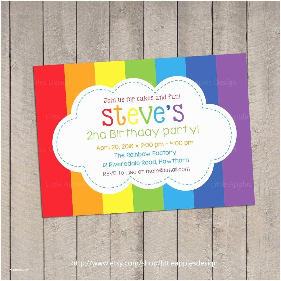 Rainbow Party Invitations Rainbow Invitation Rainbow Birthday Invitation Rainbow