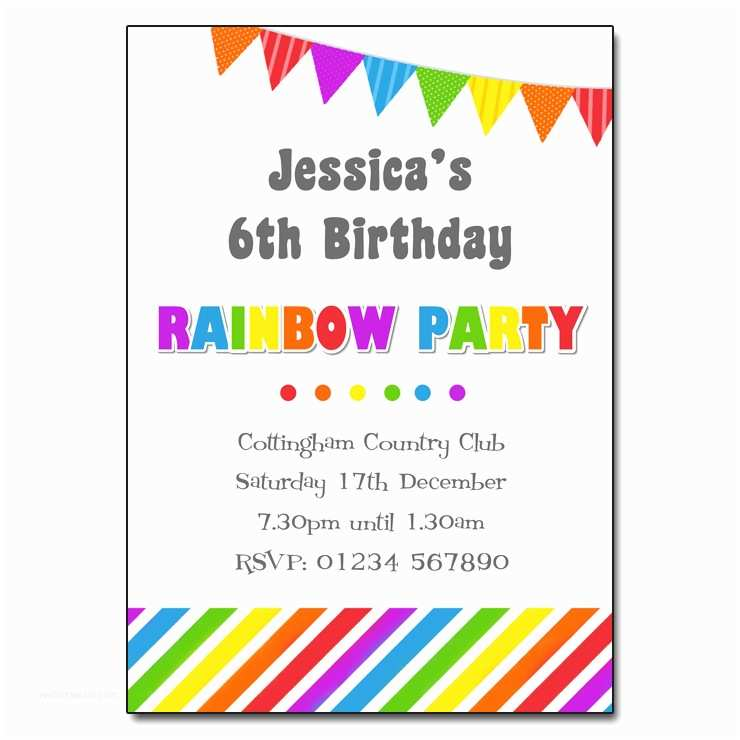Rainbow Party Invitations Rainbow Party Invitation