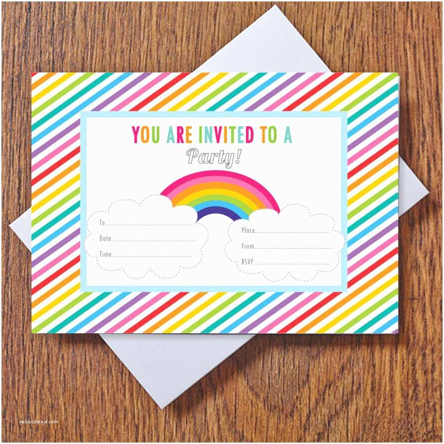 Rainbow Party Invitations Rainbow Party Invitations by Feather Grey Parties