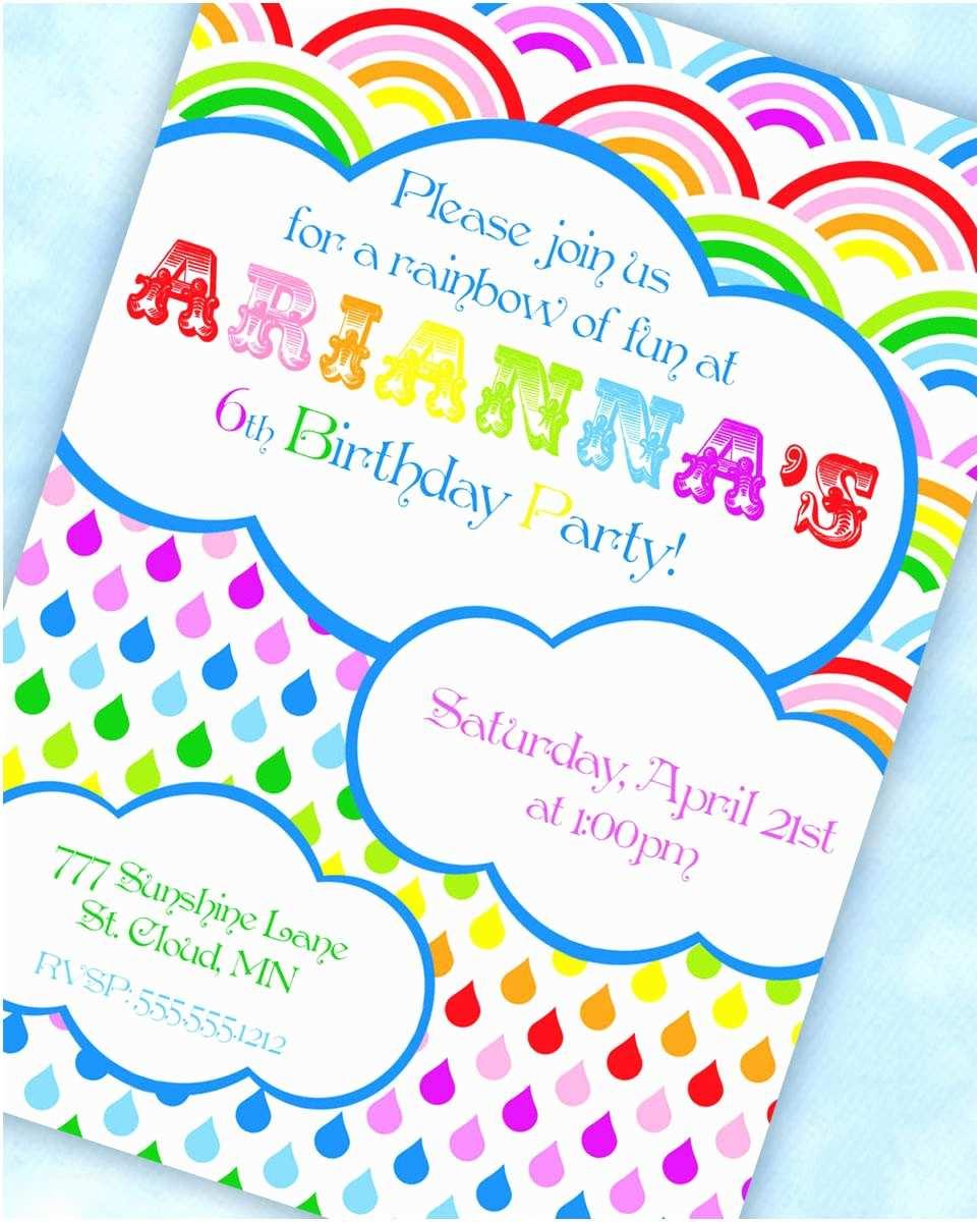 Rainbow Party Invitations Rainbow Party Invitations