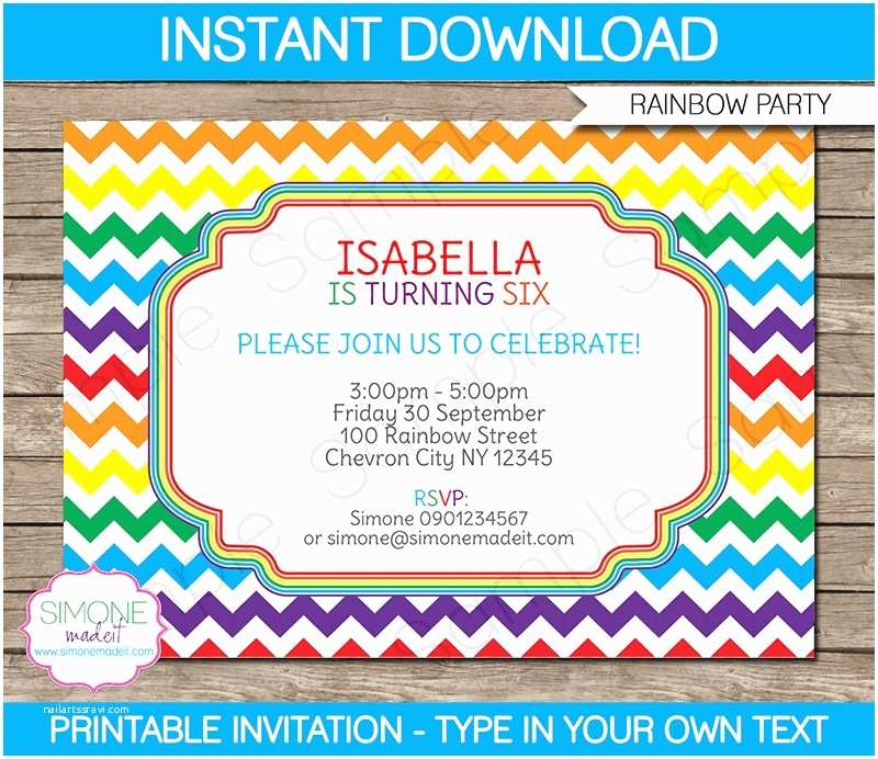 Rainbow Party Invitations Rainbow Party Invitations Template