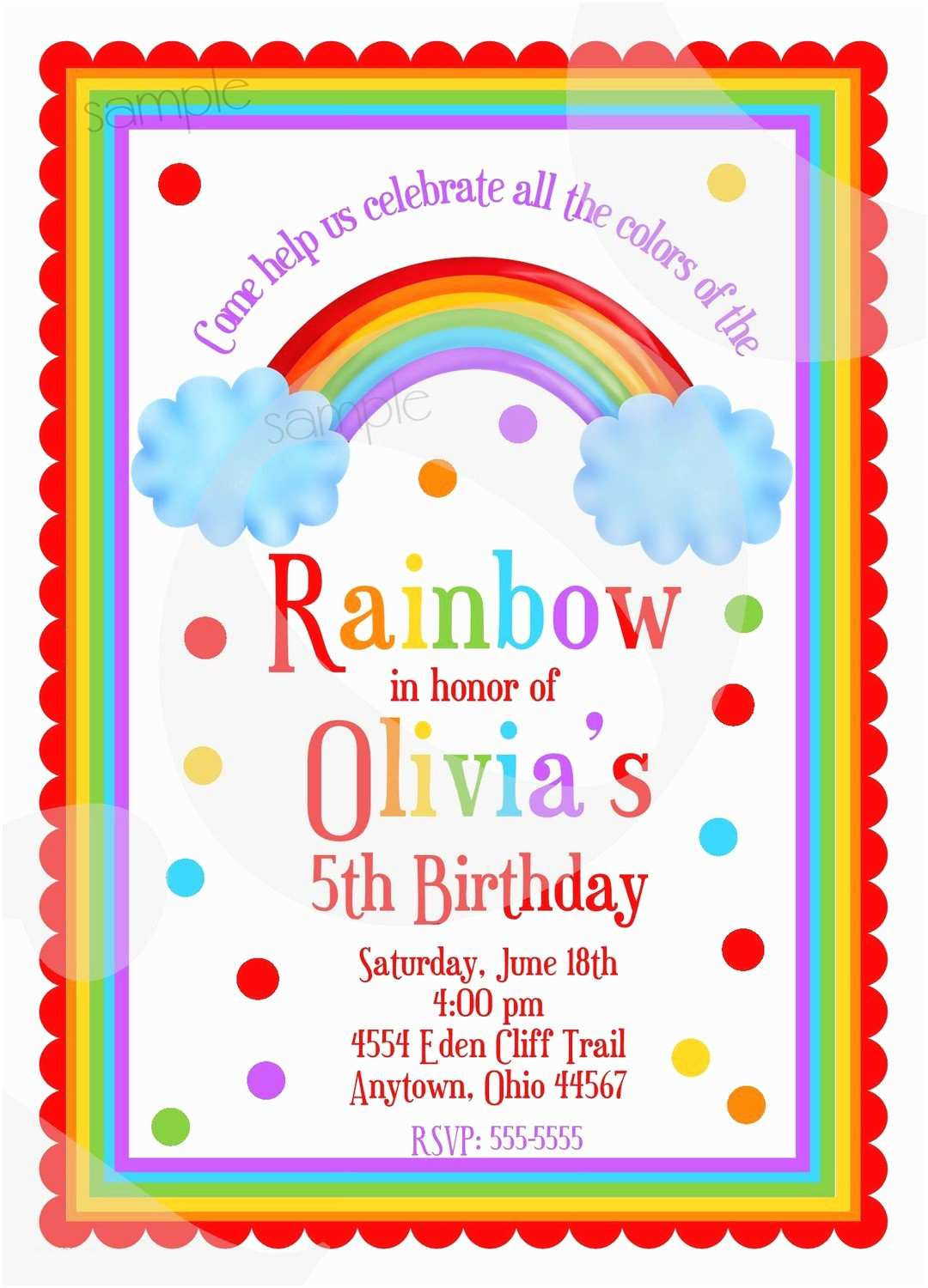 Rainbow Party Invitations Rainbow themed Birthday Invitations