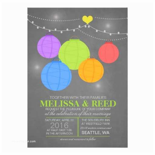 Rainbow Wedding Invitations Chalkboard Rainbow Wedding Colorful Paper Lanterns 5x7