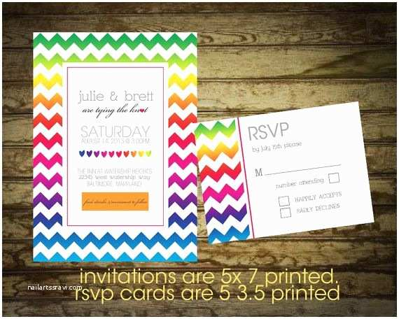 Rainbow Wedding Invitations Modern Rainbow Wedding Invitation with Chevron by