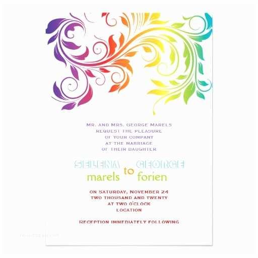 Rainbow Wedding Invitations Personalized Rainbow Wedding Invitations