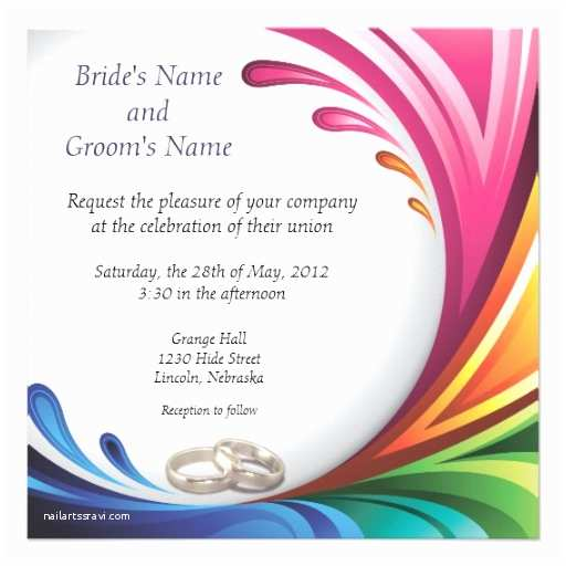 Rainbow Wedding Invitations Personalized Rainbow Wedding Invitations