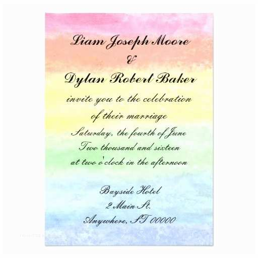 rainbow watercolor wedding invitations