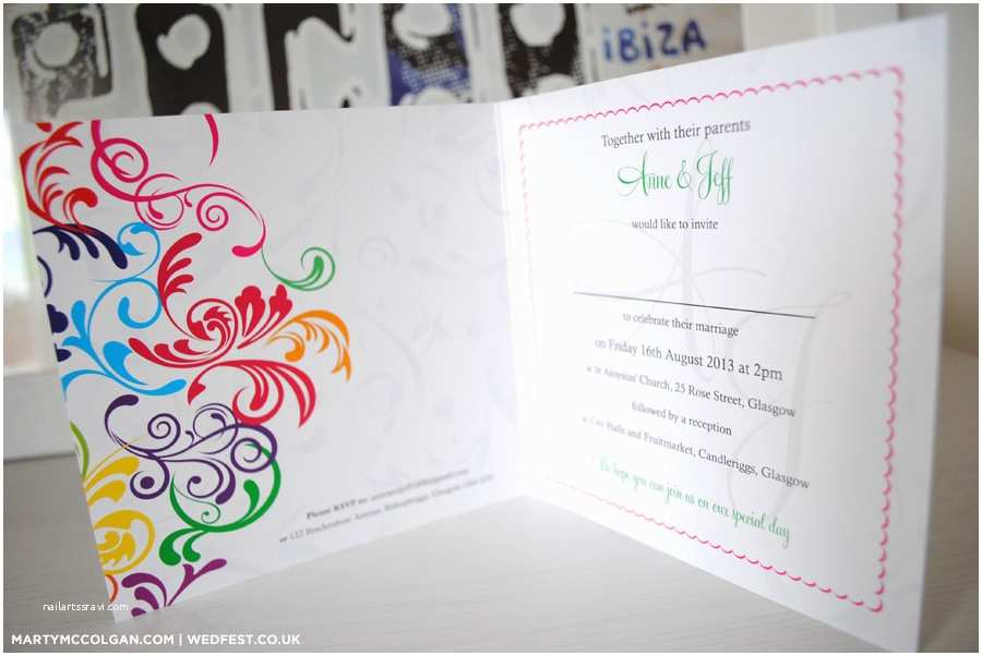 Rainbow Wedding Invitations Rainbow Carnival Typography Wedding Invitations