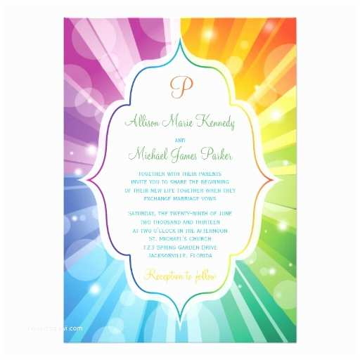 Rainbow Wedding Invitations Rainbow Colors Striped Sunburst Wedding Invitation