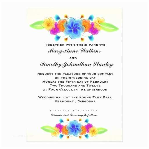 "Rainbow Wedding Invitations Rainbow Floral Wedding Invitation 5"" X 7"" Invitation Card"
