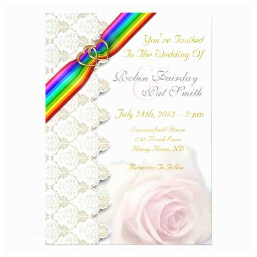 Rainbow Wedding Invitations Rainbow Ribbon Double Hearts Wedding Invitation 5
