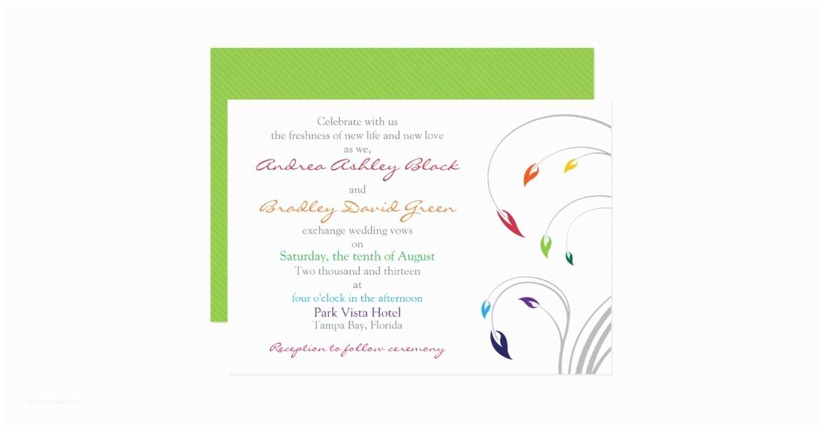 Rainbow Wedding Invitations Rainbow Wedding Invitation Floral