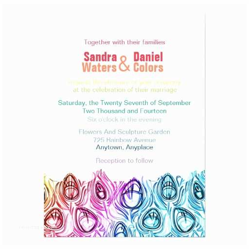 Rainbow Wedding Invitations Rainbow Wedding Invitations Line Custom Template