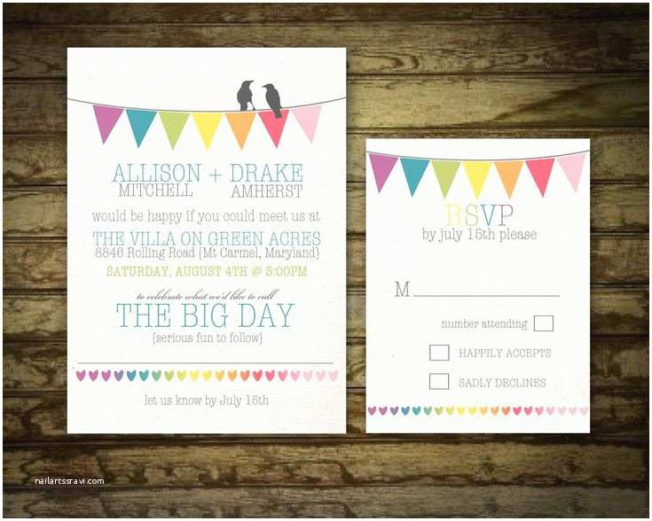 Rainbow Wedding Invitations Rustic Wedding Invitation Printable Set Rainbow Wedding