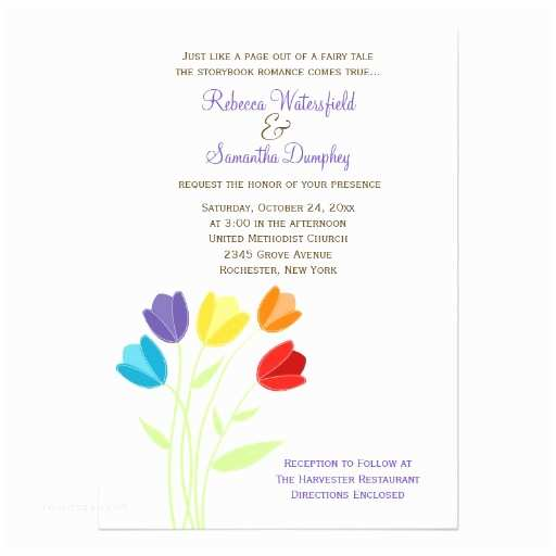 Rainbow Wedding Invitations Tulip Multi Color Rainbow Wedding Invitation