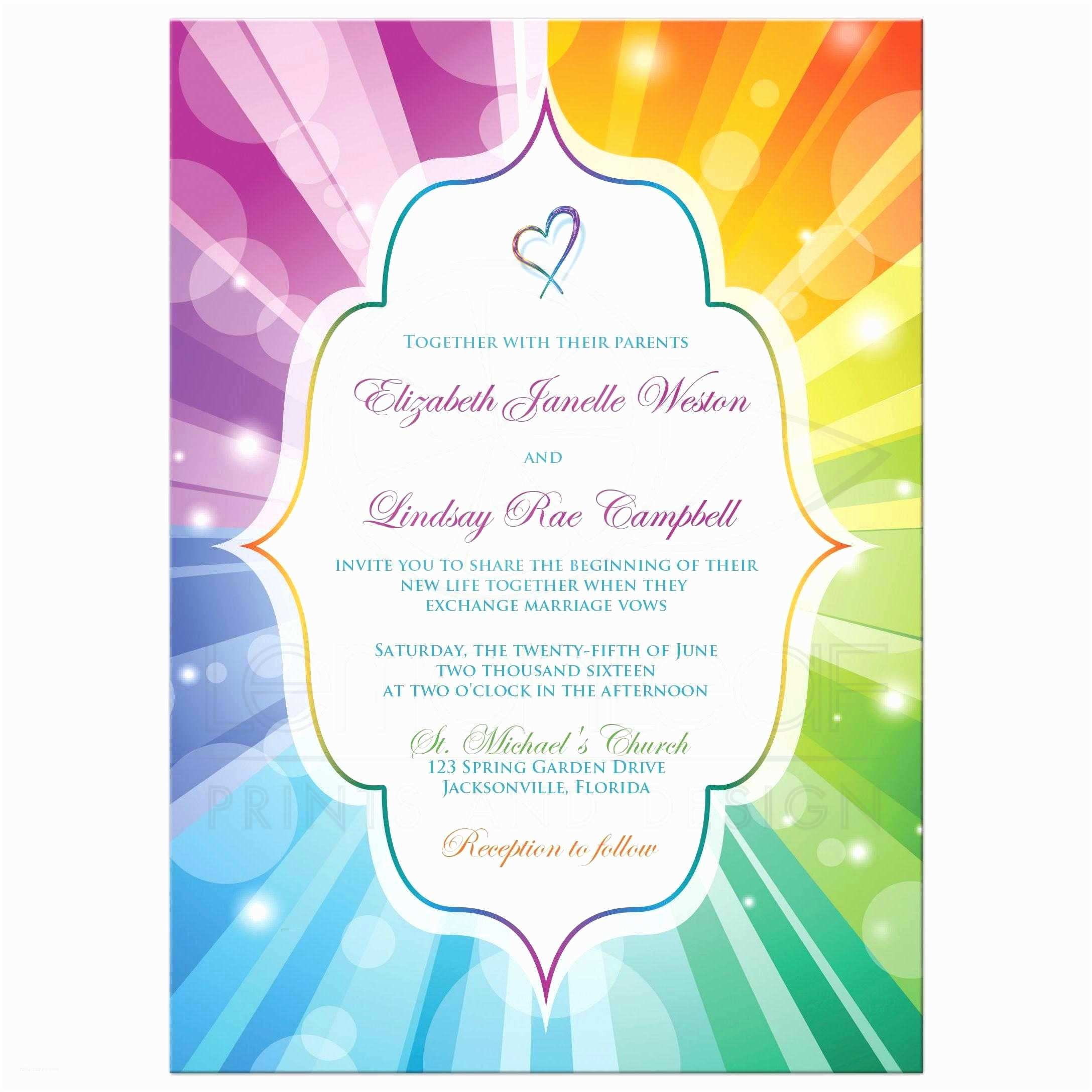 Rainbow Wedding Invitations Wedding Invitation Rainbow Colors Striped Sunbursts