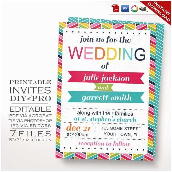 Rainbow Wedding Invitations Wedding Invitation Template Rainbow Wedding Invitation