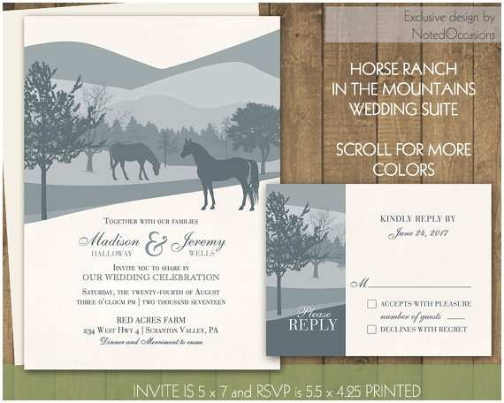 Ranch Wedding Invitations Printable Horse Wedding Invitations