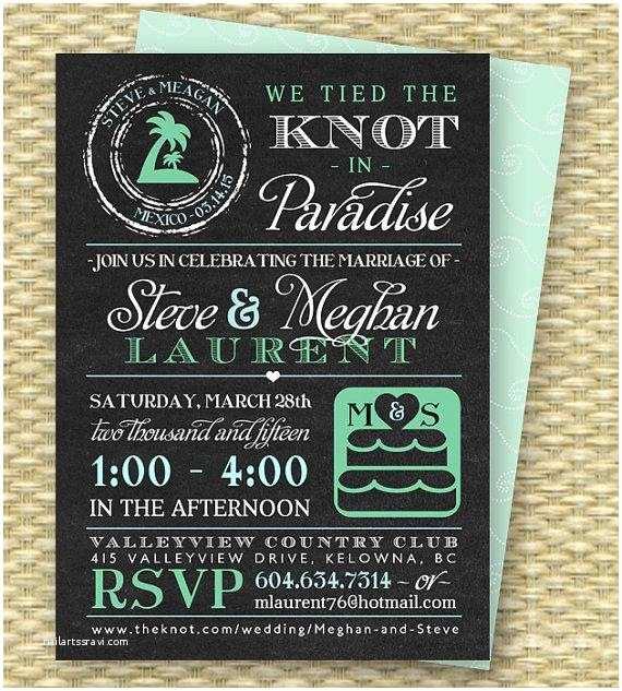 Reception Invites After Destination Wedding Chalkboard Post Destination Wedding Reception