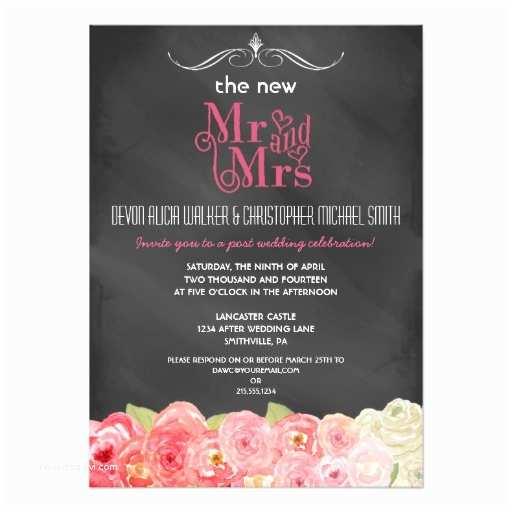 Reception Invites After Destination Wedding Floral Chalkboard Post Wedding Party