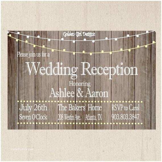 Reception Invites After Destination Wedding Vintage Lights Wedding Reception Invitation On